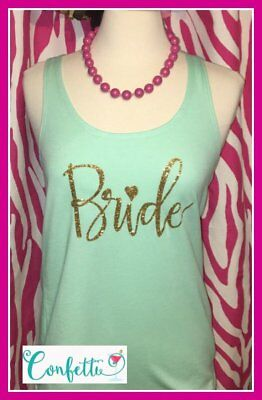Medium bride tank top Mint and Gold tank top bach party tank bridal shower spark