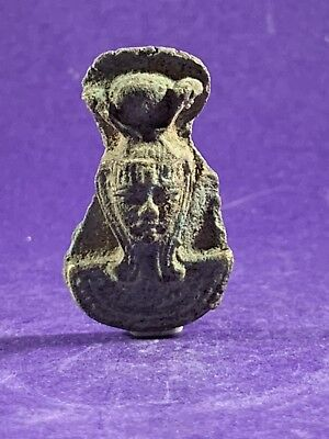 Circa 660-330Bc - Beautiful Ancient Egyptian Glazed Pharaonic Face Amulet