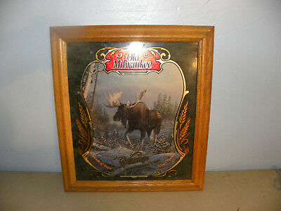 NOS Old Milwaukee Beer Mirror Wildlife Series 2 Moose Sign Bar Man Cave Hunting