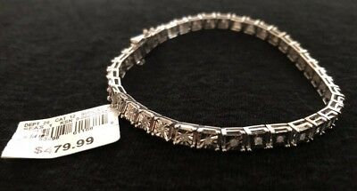 Sterling Silver 1/2CTTW Square Diamond 7 Inch Tennis Bracelet MSRP $479