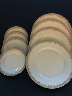 Lot of 8 Antique WM Guerin & Co Limoges Light Green & Gold Trim Plates Lot Of 8