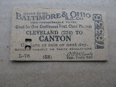 B&O ticket date stamped 1917 Cleveland to Canton   Baltimore & Ohio Railroad