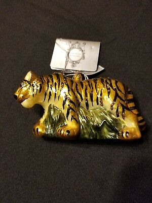 Rare Olivia Riegel Tiger Christmas Ornament  Swarovski Crystals Limited Edition