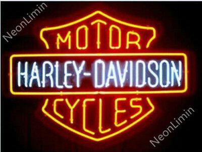 New Harley Davidson HD Motorcycle Bike Real Glass Neon Sign Beer Bar Light