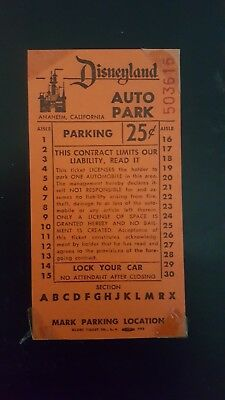 Vintage Disneyland Parking Ticket Stub. 25 Cents. Classic.