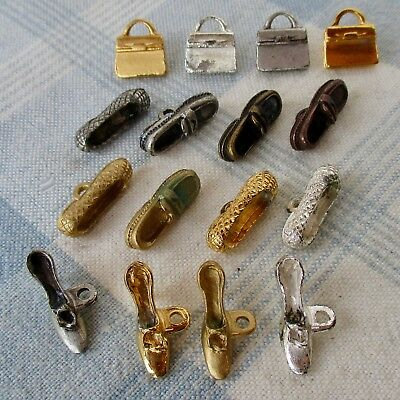 4 Sets of 4 Realistic Metal Buttons, Purses, Shoes, Slippers & High Heels