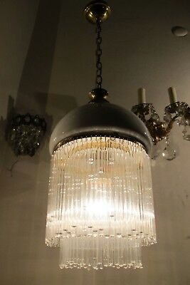 Antique Vintage French Basket Style Mini Crystal Chandelier lamp 1940s 8 in dm