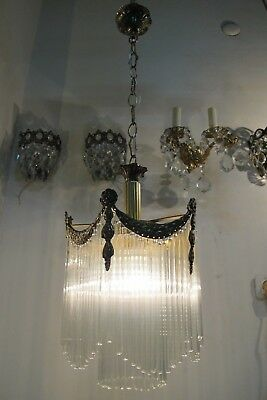 Antique Vintage French Basket Style crystal Chandelier lamp 1940s 10 in Diameter