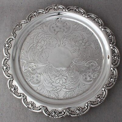 Antique Early 19th C Georgian Old Sheffield Silver Plate Salver Tray Platter 14""