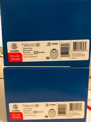 2 Boxes/30 (60 Units) Natura 416409 Closed Pouch Convatec New Sealed 2 1/4