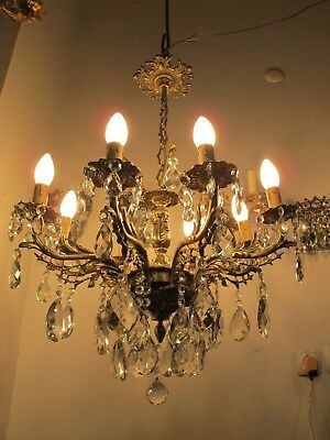 Antique Vintage Massive Bronze 10 arms Casting Brass Crystal Chandelier 1960s RR