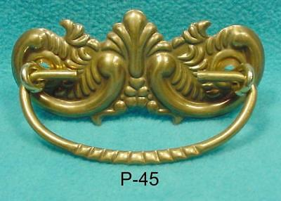 P-45  Antique Copy Furniture Drawer Pull, Pressed Brass with decorative bail.