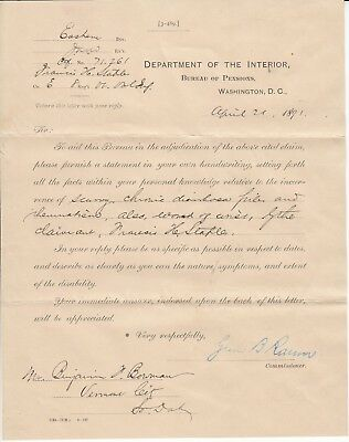 Letter Department of the Interior 1891 Benjamin Bowman Vermont City South Dakota