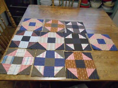 Vintage Antique 10 Shoofly Quilt Blocks Hand Stitched Cotton  8 1/4 X8 1/4 1890s