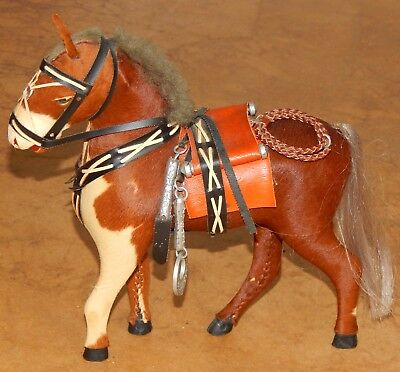 "Vintage Horse Figure Real Horse Hair & Glass Eyes Saddle 8 1/2""  Tall"
