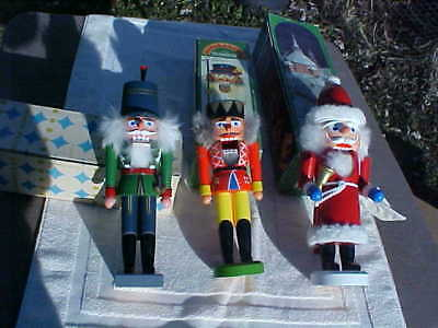 Vintage German Nut Cracker Lot Of 3 Santa And Soldiers Of Various Manufacture