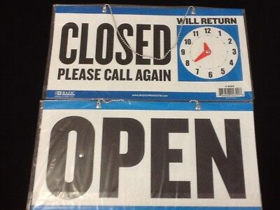 Open Closed Sign Chain 2 sided 11.5 x 6. Business Hours  One FREE SUCTION CUP