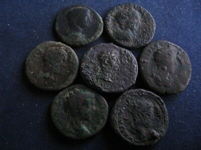7 Genuine Ancient Roman Bronze Coins,Unresearched,Some Great Detail,Unusual