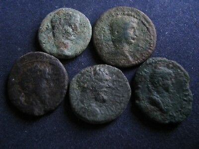5 Genuine Ancient Roman Bronze Coins,Unresearched,Some Great Detail,Unusual