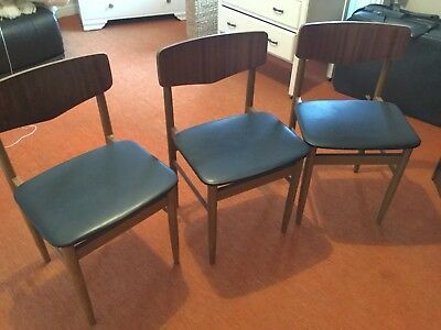 3 X Mid Century Danish Style Dining Chairs G Plan Style Vintage Retro Black Seat