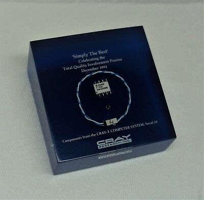 Cray Research 1 Supercomputer Component Paperweight (1991) - Clear Lucite & Blue