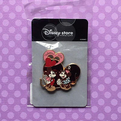 Disney Pin: Valentine's Day 2006 - Classic Mickey & Minnie Mouse LE Hearts JAPAN