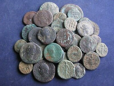 40 Genuine Ancient Roman Bronze Coins,Unresearched,Includes Some Unusual Coins