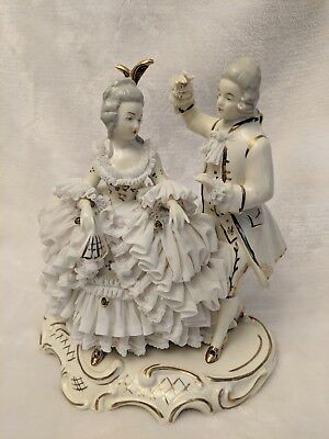 Vintage Dresden Art Germany  Porcelain Couple Figurine