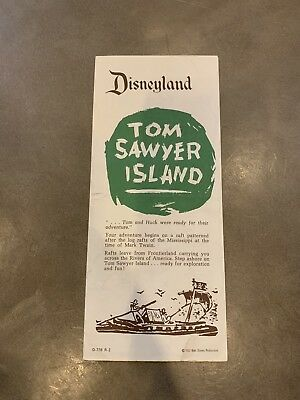 1957 vtg Disneyland Tom Sawyer Island map folder brochure original Disney 1950's
