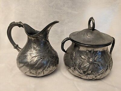 Antique Art Noveau Orivit Original 2054 Pewter Creamer And Sugar Bowl Set