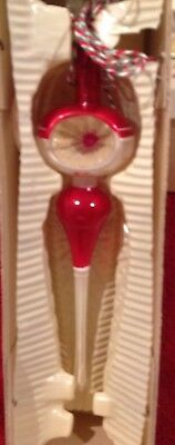 Vintage 1950s Red and White Atomic Style Indent Icicle Ornament