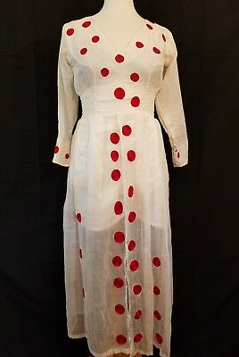 Ethiopian Traditional Embroidered Red Dot Dress 2 piece Size M