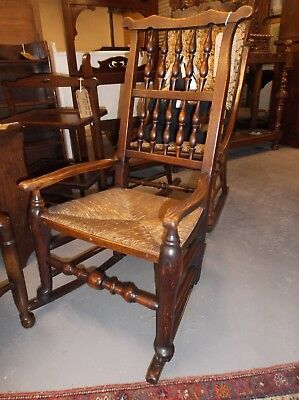 Victorian Rush Seated Spindle Back Ear Topped Elm And Oak Rocking Chair C 1880