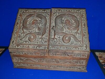 Late 19th Cehbntury Large Chinese Slope Front Stationary Box with Dragon Carving