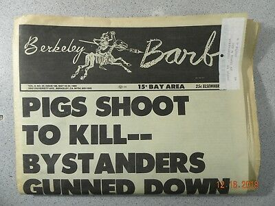 Berkeley Barb # 196, 1969 Underground Newspaper Pigs Shoot To Kill Gunned Down