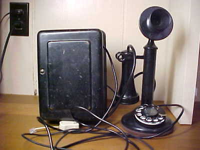 1921 Working Western Electric At&t Antique Candlestick Dial Telephone + Bellbox