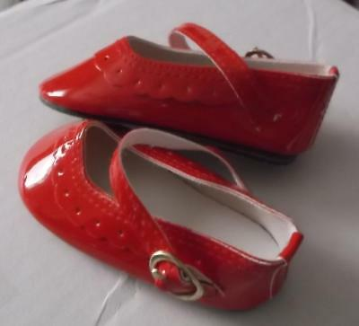 """Doll Shoes Christmas Red  Patent Shoes With Gold Buckle 3 3/4"""""""