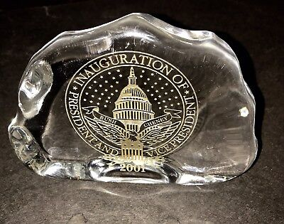 GEORGE W BUSH 2001 Presidential Inauguration Paperweight Free-Form Glass