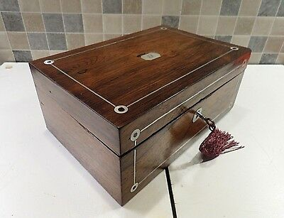 Victorian Inlaid Rosewood Sewing Box With Fitted Interior + Contents- Lock & Key