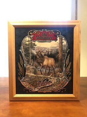 Old Milwaukee Beer Wildlife Series II 2 Elk Mirror Sign New In Box Mint!