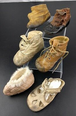 VTG Lot of 6 Baby Booties Shoes Sandal Victorian Child Shoes Doll Ornate Decor