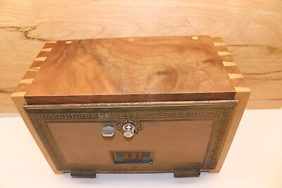 Vintage Post Office Box Door  Gun Lock Box Solid Walnut & Beech Wood Dovetails