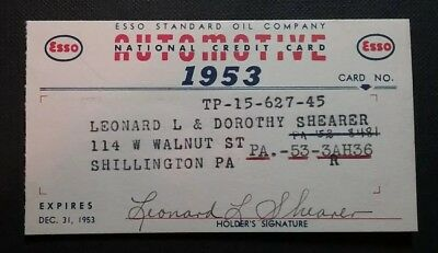 1953 Esso Standard Oil Company Credit National Charge Card OBSOLETE