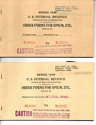 2  Booklets of US Official Order Forms for Opium, Coca Leaves & Opiates 1948