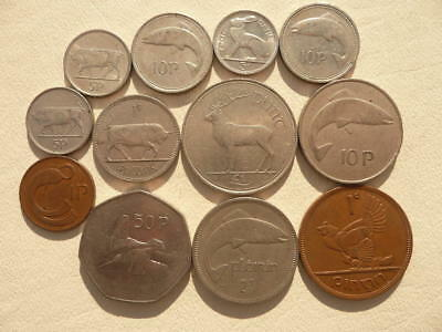 Lot of 12 Irish Coins of Ireland - With Animals and Harps - BIN
