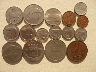 Lot of 16 Irish Coins of Ireland - With Animals and Harps - BIN