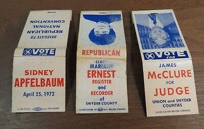 Lot of 3- Northumberland & Snyder Co. PA- Political Match packs from 1960-1970's
