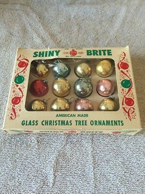 Vintage Shiny Brite Mini 12 Glass Ornaments In Box