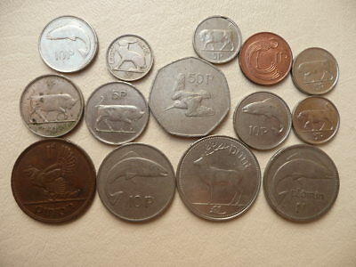 Lot of 14 Irish Coins of Ireland - With Animals and Harps
