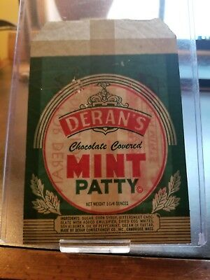 Vintage 1930s Derans Chocolate Covered Mint Patty Candy Wrapper Cambridge Mass